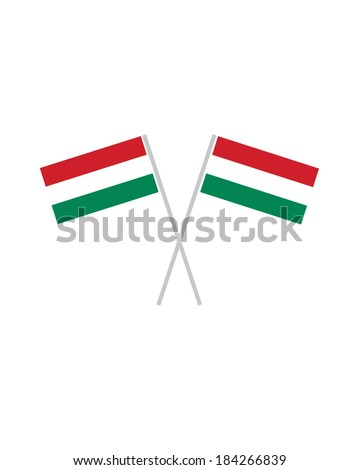 Crossed Hungarian Flags - Vector - stock vector