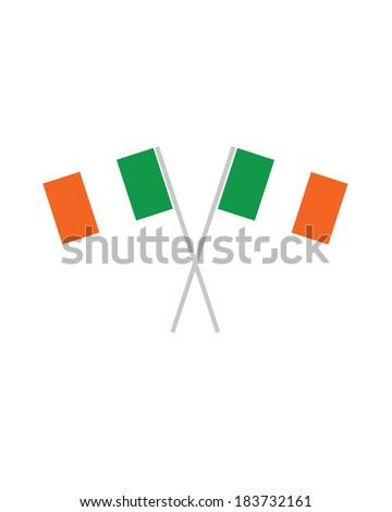 Crossed Irish Flags - Vector - stock vector