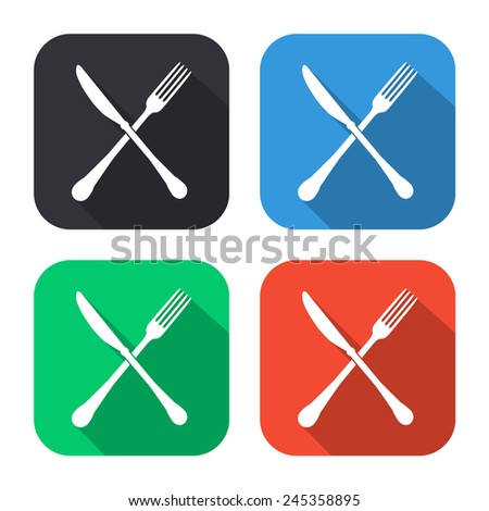 crossed knife and fork icon - colored illustration (gray, blue, green, red) with long shadow - stock vector