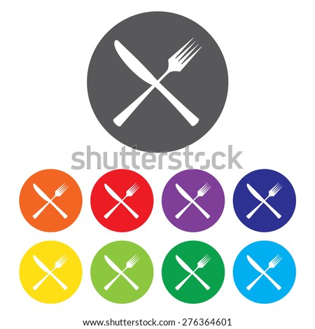 Crossed Knife and Fork Icon Set - stock vector