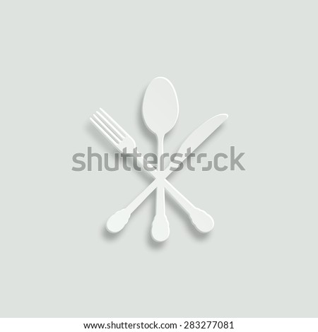 crossed knife fork and spoon vector icon - paper illustration