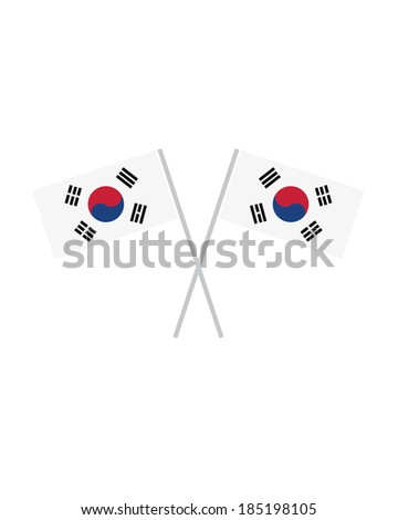 Crossed Korean Flags - Vector - stock vector