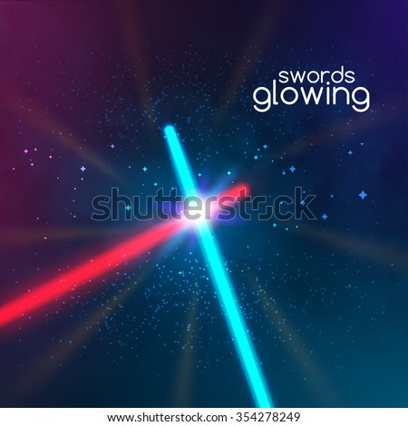 Crossed light swords saber on dark background. Fight weapon flashlight futuristic from star war. Realistic bright laser halogen beams set. Vector illustration, design elements for your projects - stock vector