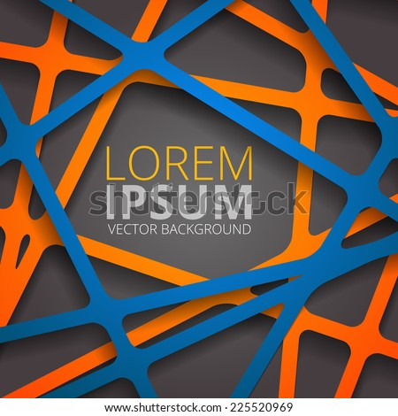 Crossed lines abstract aggressive gray and orange vector cover background - stock vector