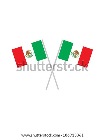 Crossed Mexican Flags - Vector - stock vector