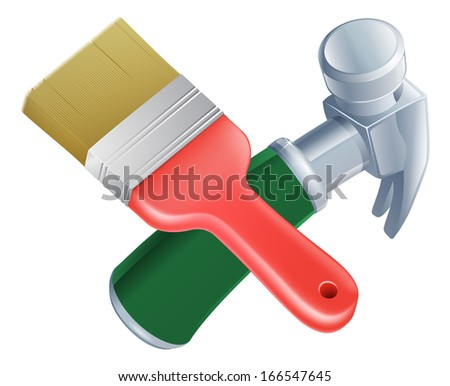 Crossed paintbrush and hammer tools icon of cartoon tools crossed, construction or DIY or service concept - stock vector