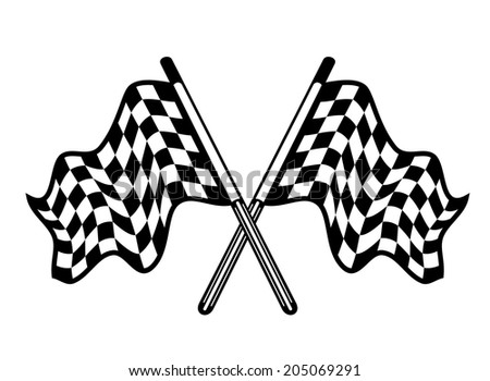 Crossed pair of black and white motor sport checkered flags waving in the breeze, isolated on white, for racing logo or heraldic design - stock vector
