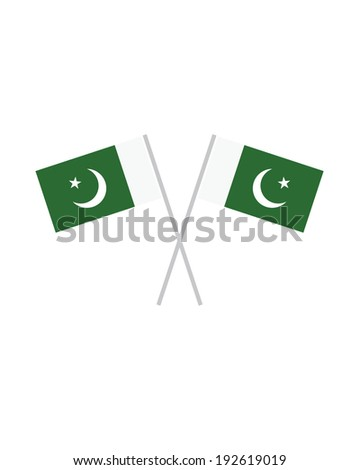 Crossed Pakistan Flags - Vector - stock vector