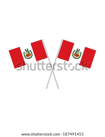 Crossed Peru Flags - Vector - stock vector