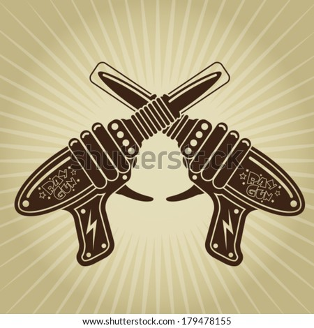 Crossed Retro Space Tin Toy Pistols Illustration - stock vector