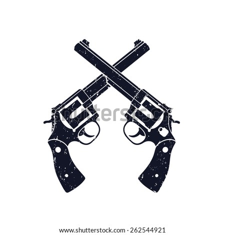 Crossed Revolvers grunge sign vector illustration, eps10, easy to edit  - stock vector
