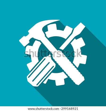 Crossed screwdriver and hammer tools, vector - stock vector