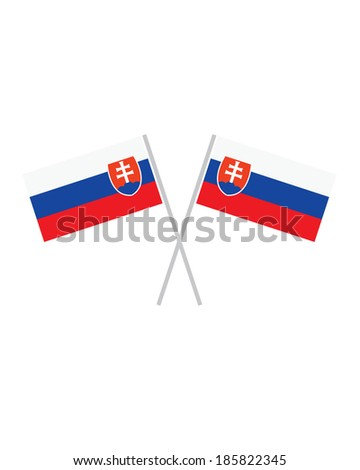 Crossed Slovakia Flags - Vector - stock vector
