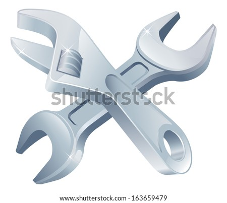 Crossed spanners tools icon of cartoon tools crossed, construction or DIY or service concept - stock vector
