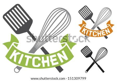 crossed spatula and balloon whisk - kitchen symbol (kitchen design, kitchen sign) - stock vector