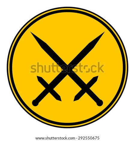 Crossed swords button on white background. Vector illustration. - stock vector