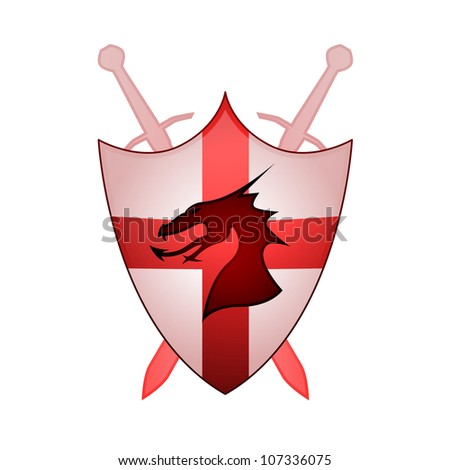 Crossed swords, dragon and shield with Cross of St. George - stock vector