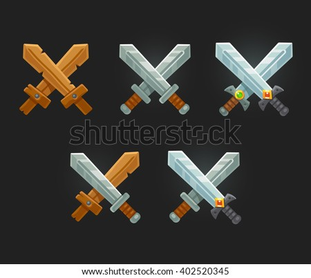 Crossed swords icon set for game of web. Cartoon vector sword emblems. - stock vector