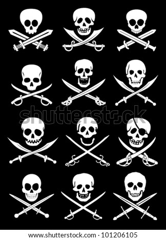 Crossed Swords with Skulls vector collection in black background - stock vector