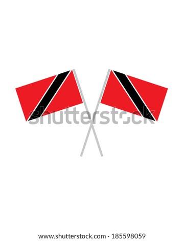 Crossed Trinidad Flags - Vector - stock vector
