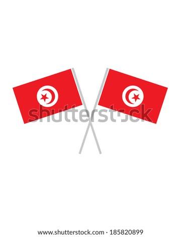 Crossed Tunisia Flags - Vector - stock vector