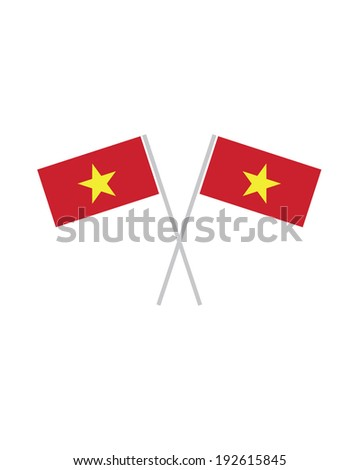 Crossed Vietnam Flags - Vector - stock vector