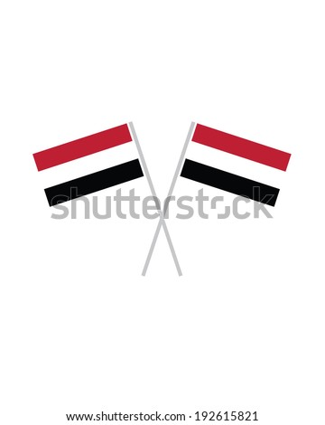 Crossed Yemen Flags - Vector - stock vector