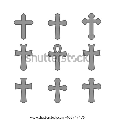 Crosses isolated on a white background. Illustration of crosses. Set of crosses. Different types of crosses. Gray crosses.