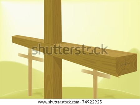 Crosses wooden - stock vector