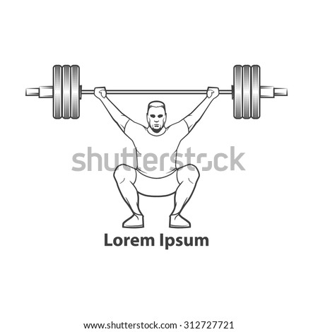 crossfit training concept, weightlifting, squat, for logo, simple illustration - stock vector