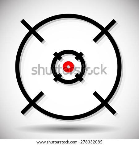 Crosshair, firearm's reticle graphics with red dot, vector. Precision, accuracy, alignment concepts - stock vector