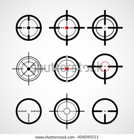 Crosshair (gun sight), target icons set - stock vector