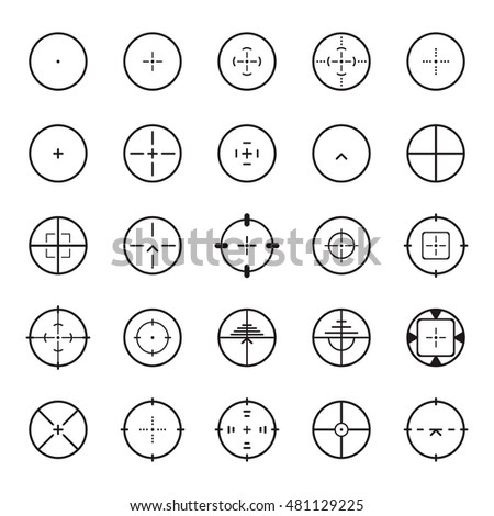 Crosshair icon set. Vector illustration.