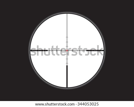 crosshair, reticle with red dot, vector - stock vector
