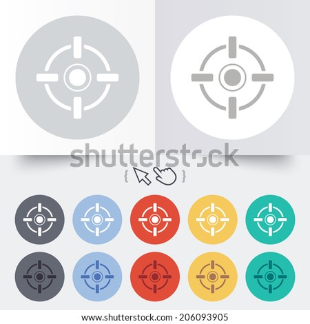 Crosshair sign icon. Target aim symbol. Round 12 circle buttons. Shadow. Hand cursor pointer. Vector - stock vector