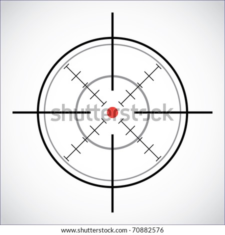 crosshair with red dot - illustration - stock vector