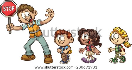 "Crossing guard helping kids cross the street. Vector clip art illustration with simple gradients. Each on a separate layer. ""Stop"" text on a different layer than the sign. - stock vector"
