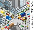 crossing of city is in a three-dimensional a vector image - stock photo