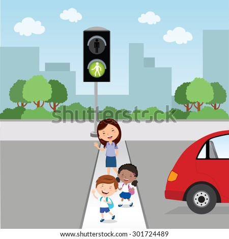 Crossing the road. Green light. Teacher and school kids crossing the road. - stock vector