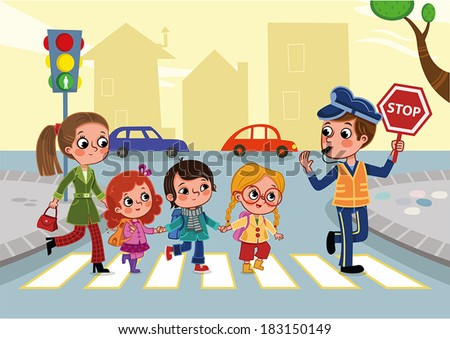 Crossing the street - stock vector