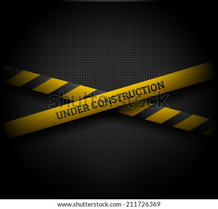 Crossing yellow ribbons with UNDER CONSTRUCTION text on dark background. EPS10 vector illustration. - stock vector