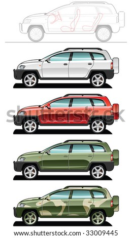 crossover - part of my collections  of Car body style. Simple gradients only - no gradient mesh. - stock vector