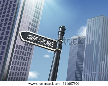 crossroad 3d illustration black road sign saying credit available - stock vector
