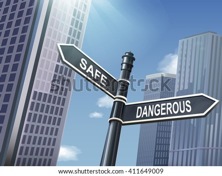 crossroad 3d illustration black road sign saying dangerous and safe - stock vector
