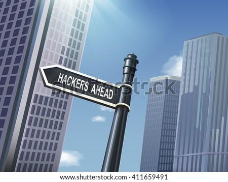 crossroad 3d illustration black road sign saying hackers ahead - stock vector