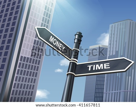 crossroad 3d illustration black road sign saying time and money - stock vector