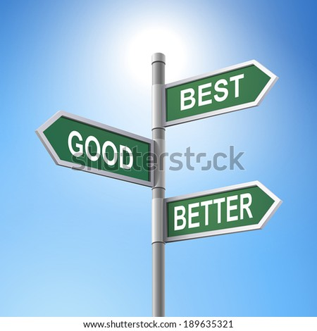 crossroad 3d vector road sign saying best and good and better - stock vector