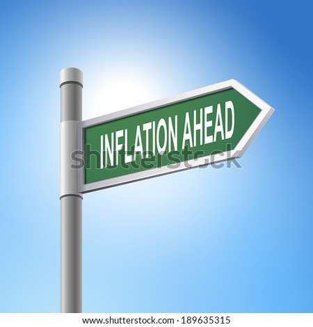 crossroad 3d vector road sign saying inflation ahead - stock vector