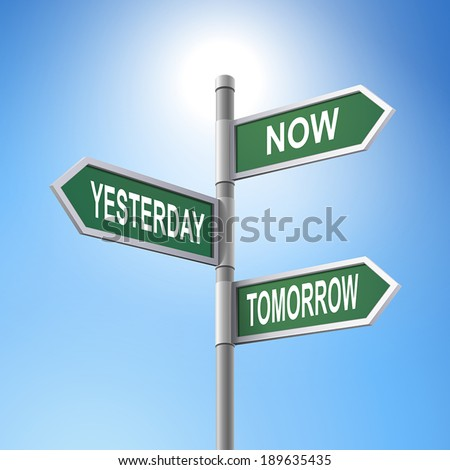 crossroad 3d vector road sign saying now and yesterday and tomorrow - stock vector