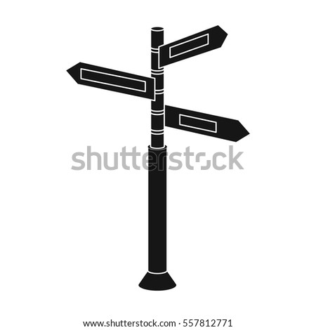 Crossroad sign icon in black style isolated on white background. Rest and travel symbol stock vector illustration.